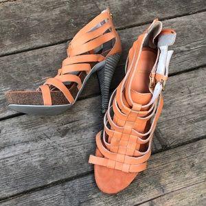 Bronx creamy orange heeled sandals with zipper